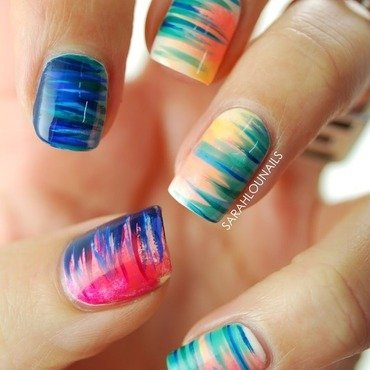Gradient Side Stripe Nails! nail art by Sarah S