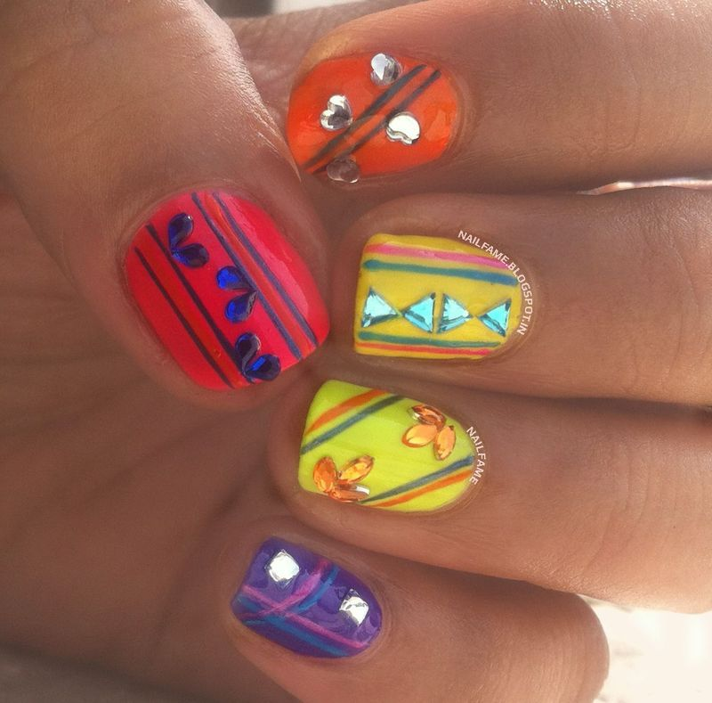 Colorful Nails nail art by Nailfame