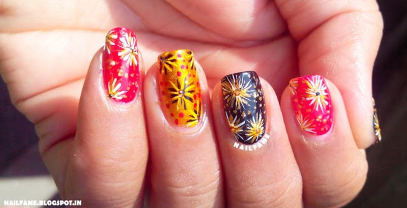 DIWALI CRACKERS nail art by Nailfame