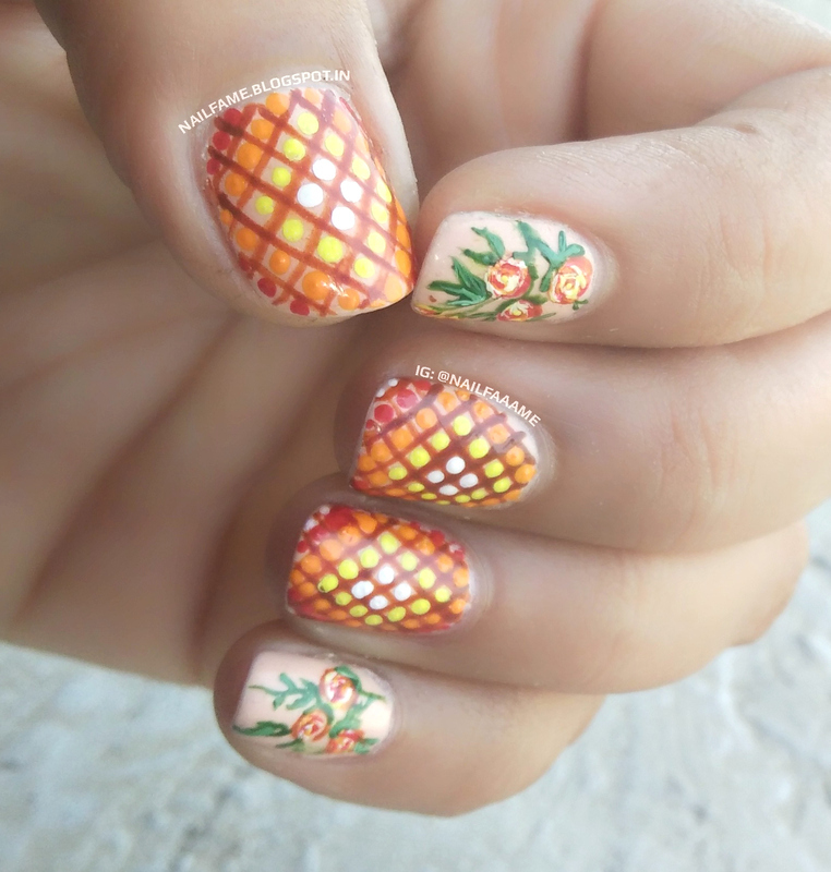 MOSAIC AND FLOWERS nail art by Nailfame