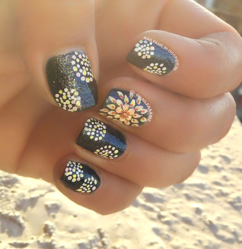 FLOWER AND POLKA DOTS nail art by Nailfame