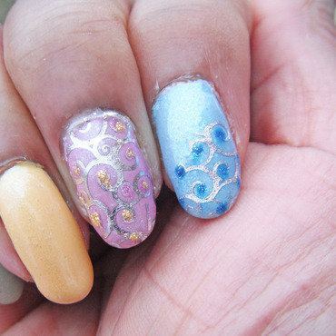 Lovely Spring Swirls nail art by Jackie Bodick