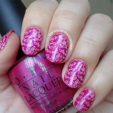 Fuchsia with Pink Leafy Floral Doodle Stamping nail art by Lisa N