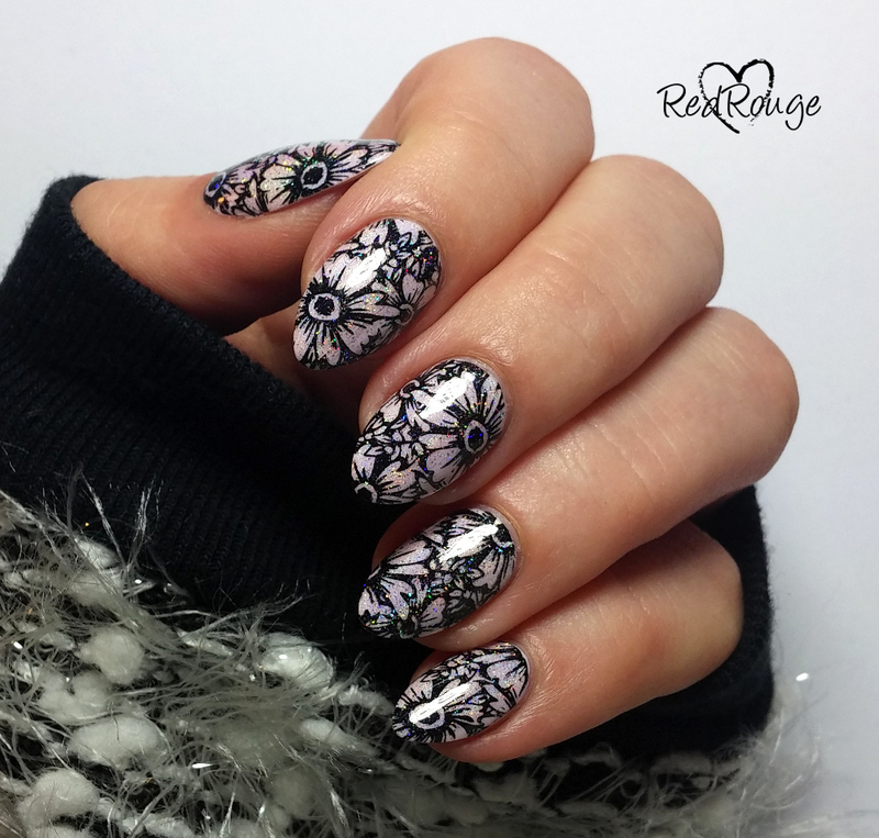 Black holo flowers nail art by RedRouge