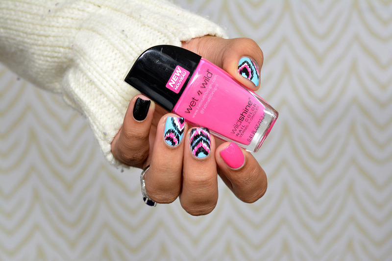 Pink & Blue Ikat nail art by Fatimah