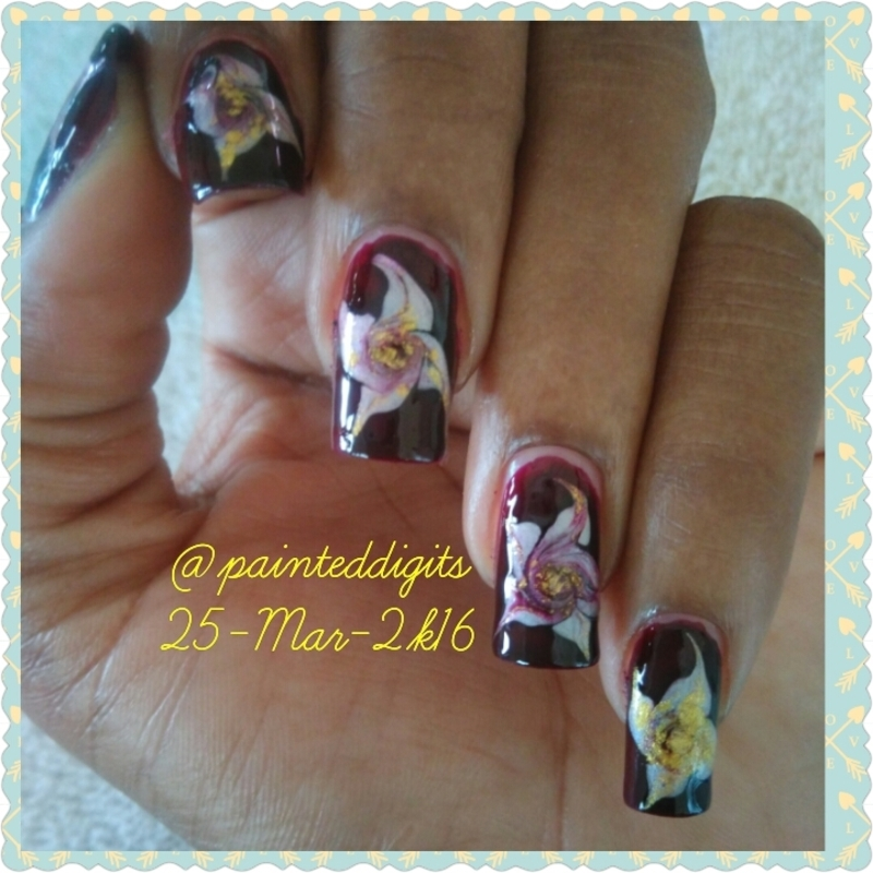 Drag Marble Flowers  nail art by Painted Digits