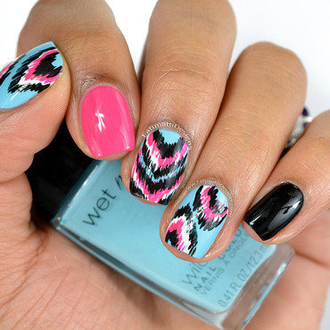 Pink And Blue Ikat close nail art by Fatimah
