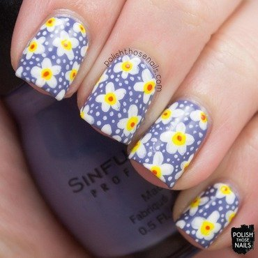 Purple floral spring polka dot nail art 4 thumb370f