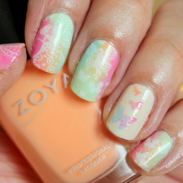 Rainbows and Spring inspiration nail art by Polished Polyglot