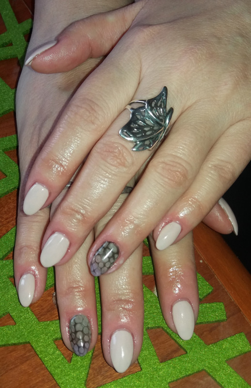 Delicate gel nails nude with snake skin ombre nail art by Magda