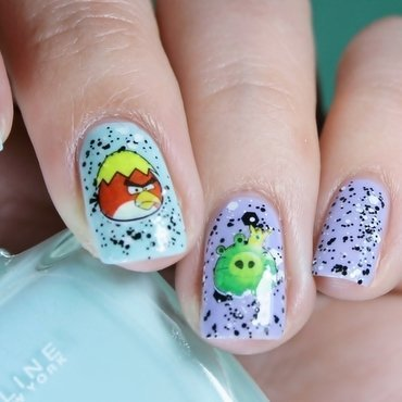 Happy Easter with Angry Birds nail art by Romana