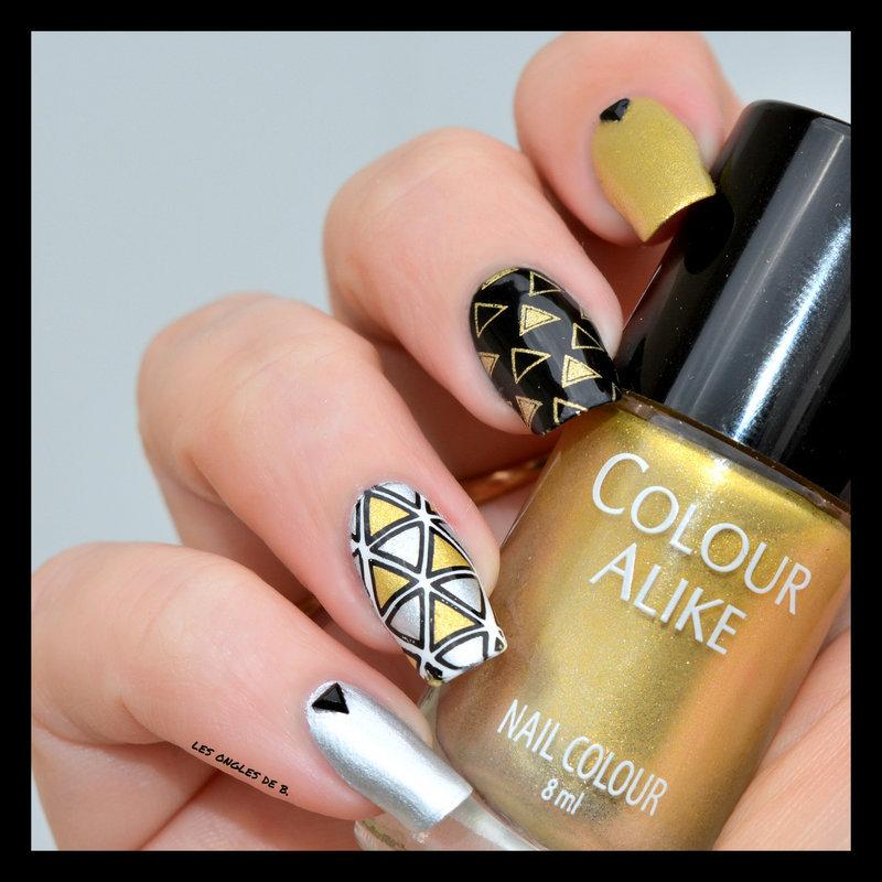 Gold&Silver nail art by Les ongles de B.