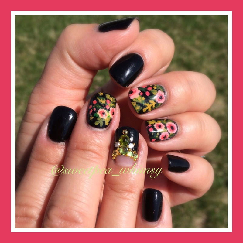 Whimsical Floral on Ebony nail art by SweetPea_Whimsy