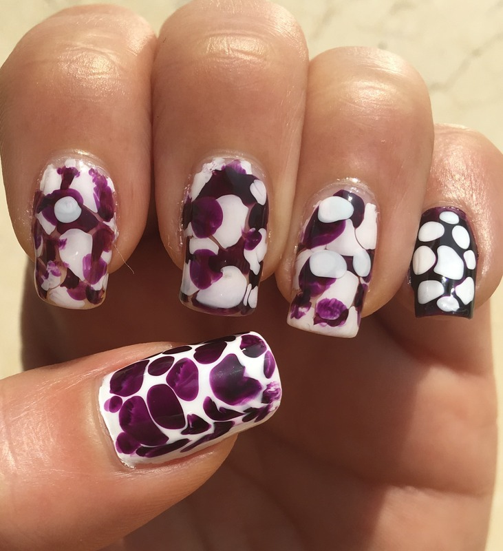 Purple and White Blobbicure nail art by Idreaminpolish