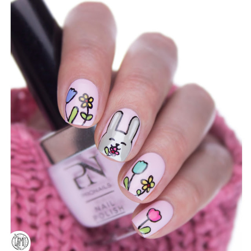 Funny bunny easter nails nail art by Paulina