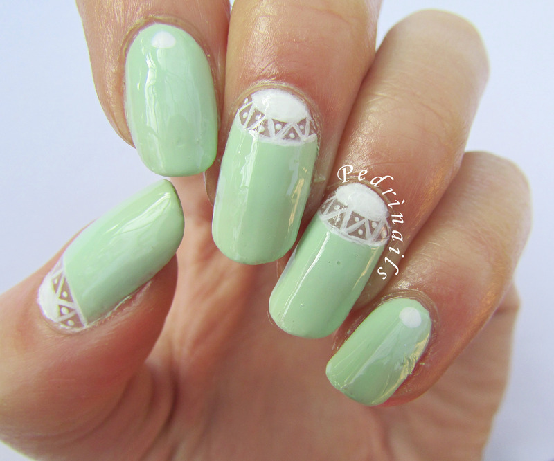 Light green skittlette negative space double moon manicure nail art by Pedrinails