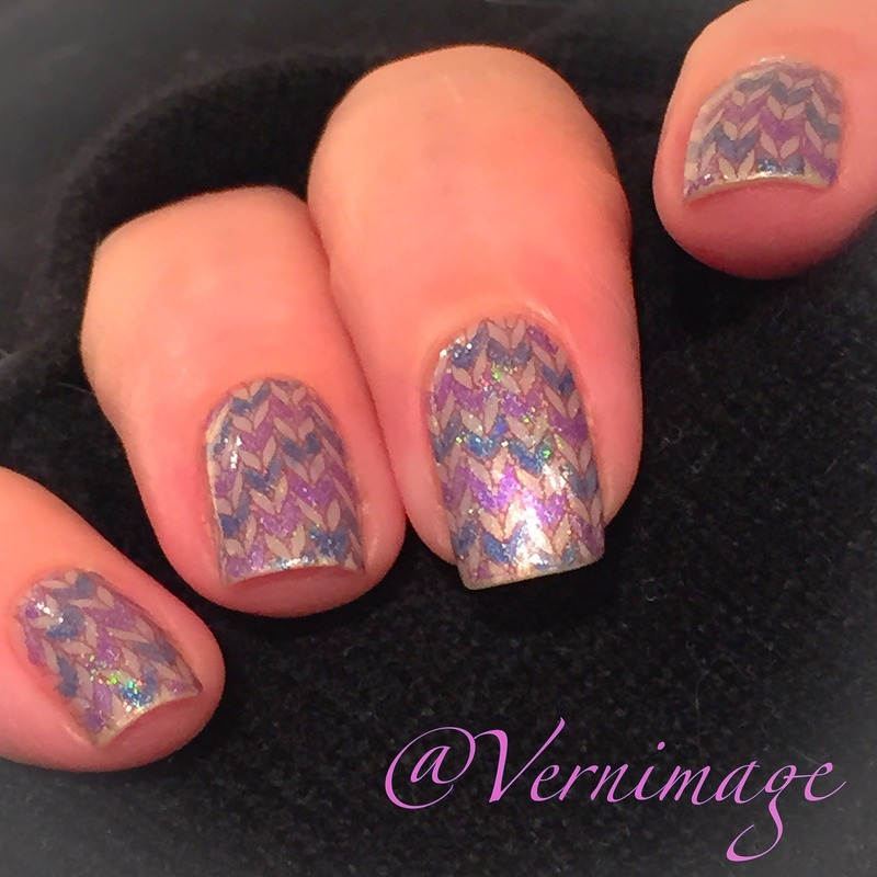 Stamped knitting pattern filled in by hand nail art by Vernimage