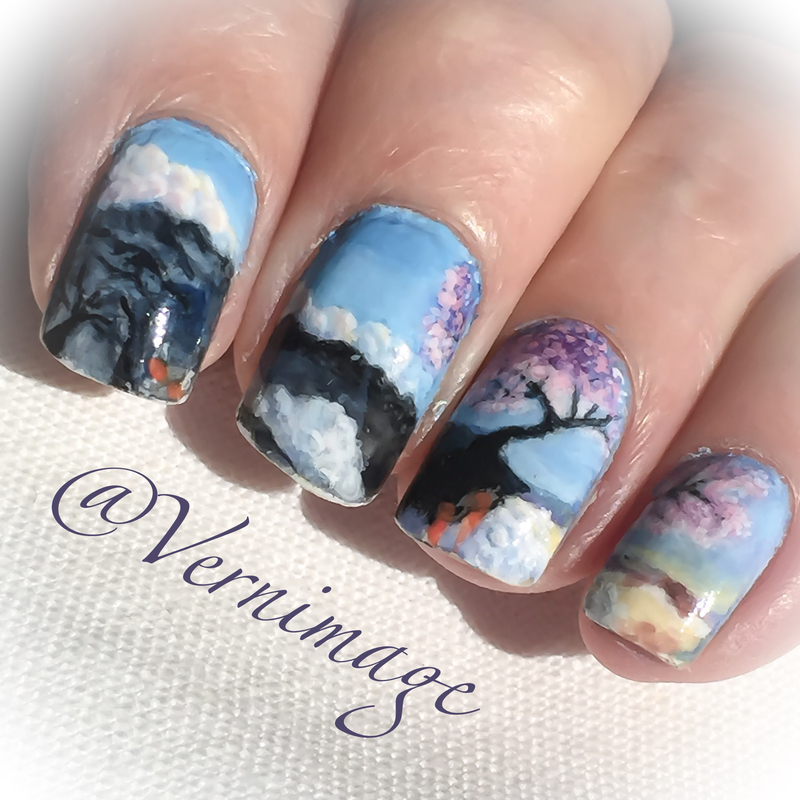 Cherry tree flourishing on top of Mount Fuji nail art by Vernimage
