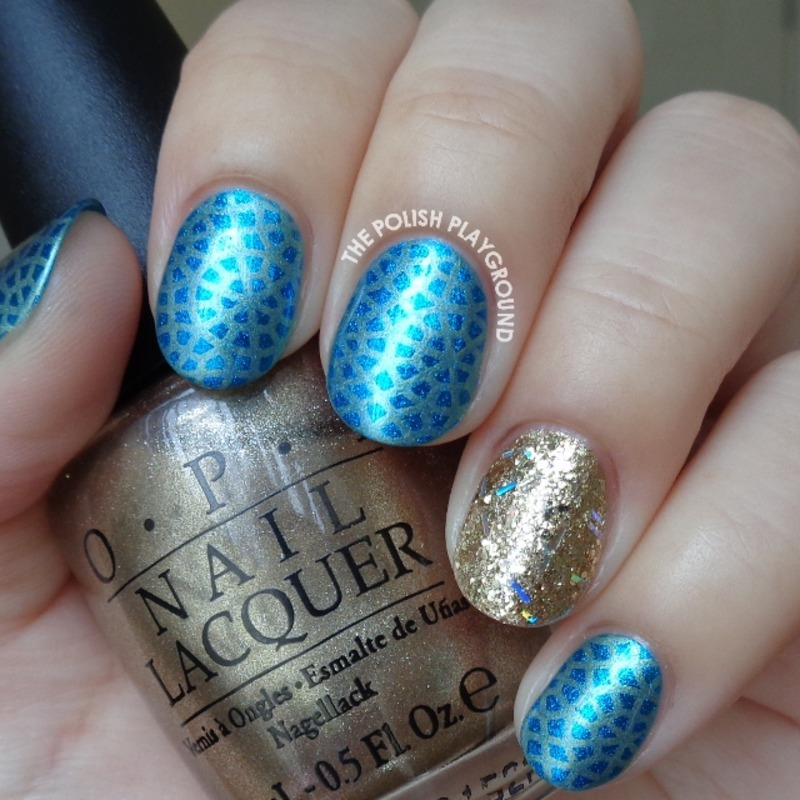 Blue with Subtle Yellow Circle Pattern Stamping nail art by Lisa N