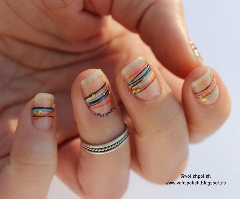 Futuristic minimalist nail art nail art by Volish Polish