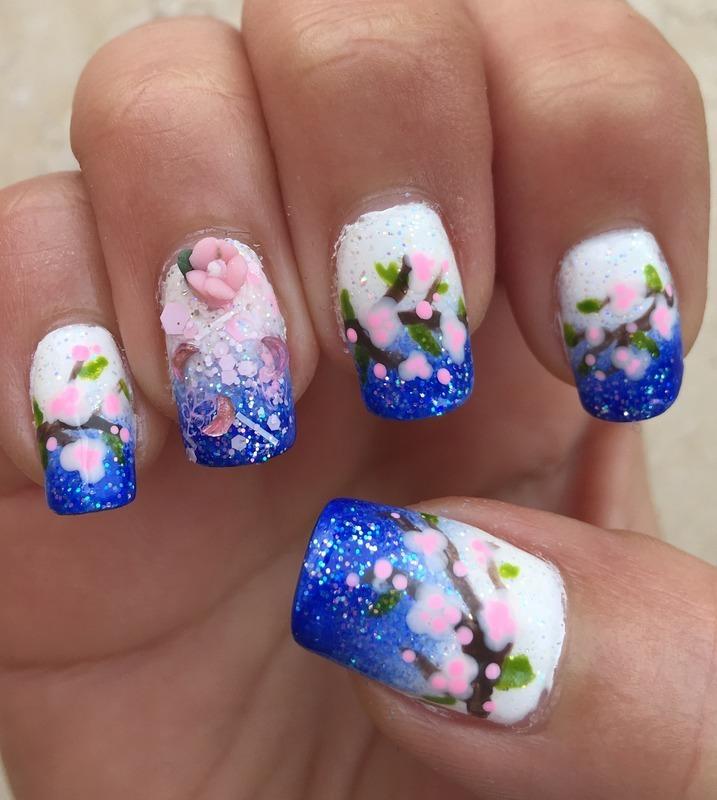 Cobalt Sakura nail art by Idreaminpolish