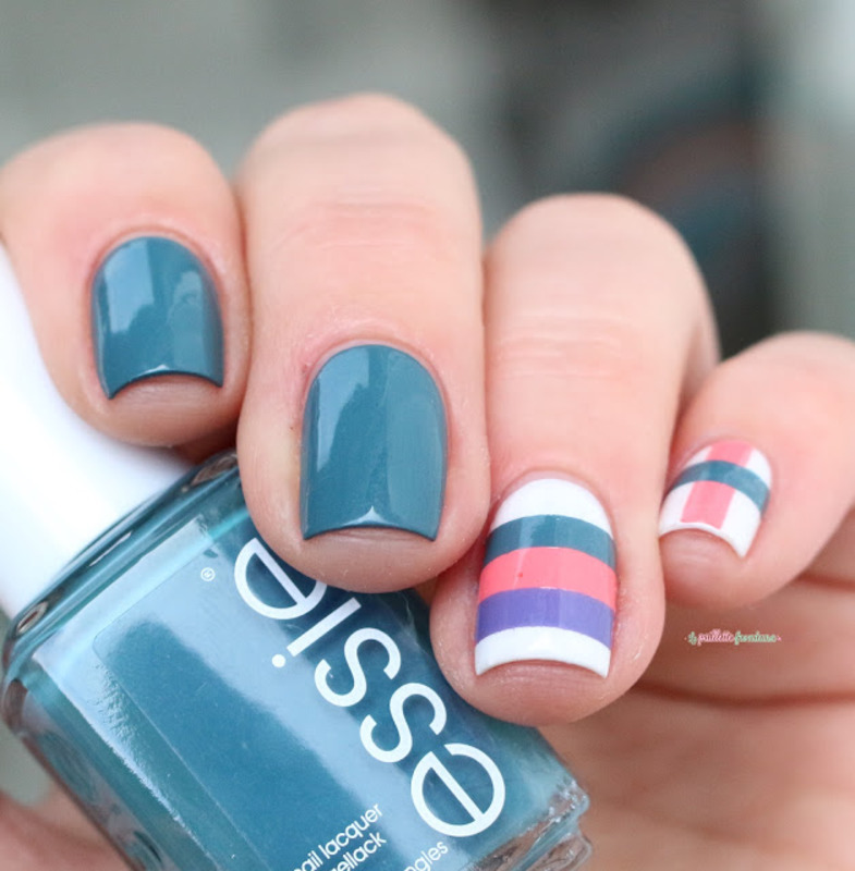 spring striped nail art by nathalie lapaillettefrondeuse