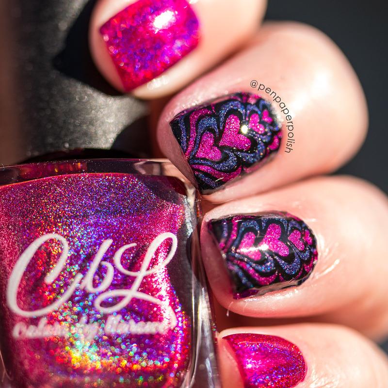 Hearts nail art by Misty
