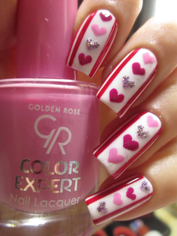 pink hearts nail art by NailArt_T