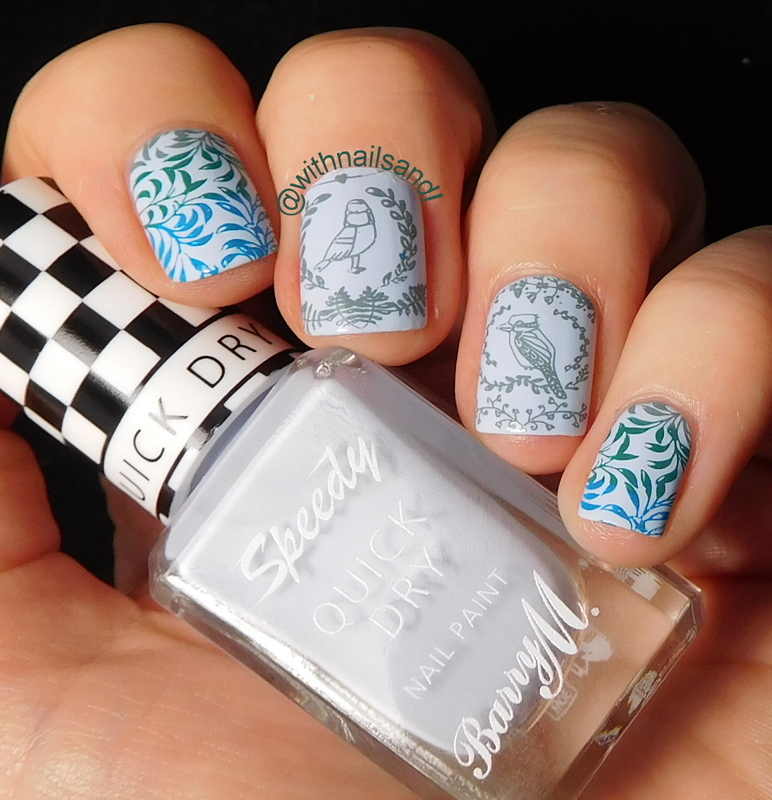 Blue Birds. nail art by WithnailsandI