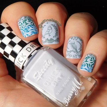 Blue Birds. nail art by WithnailsandI