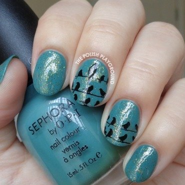 Teal 20and 20gold 20glitter 20base 20with 20black 20crows 20stamping 20nail 20art thumb370f