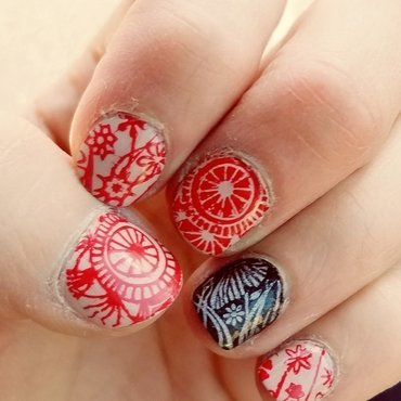 Red stamping  nail art by truhero