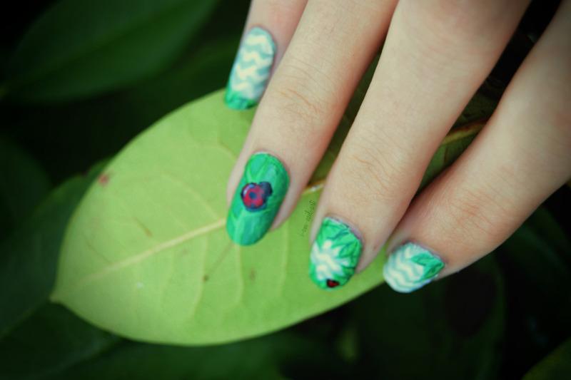 Ladybug and leaves nail art by i-am-nail-art
