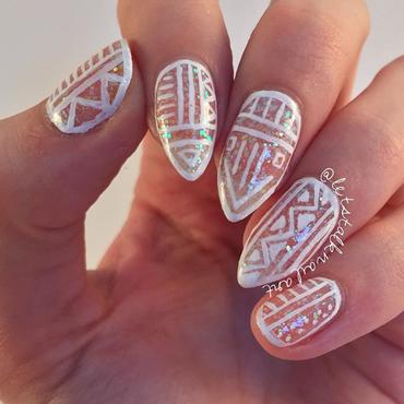 White Aztec nail art by Lottie
