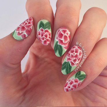 Dahlia Florals nail art by Lottie