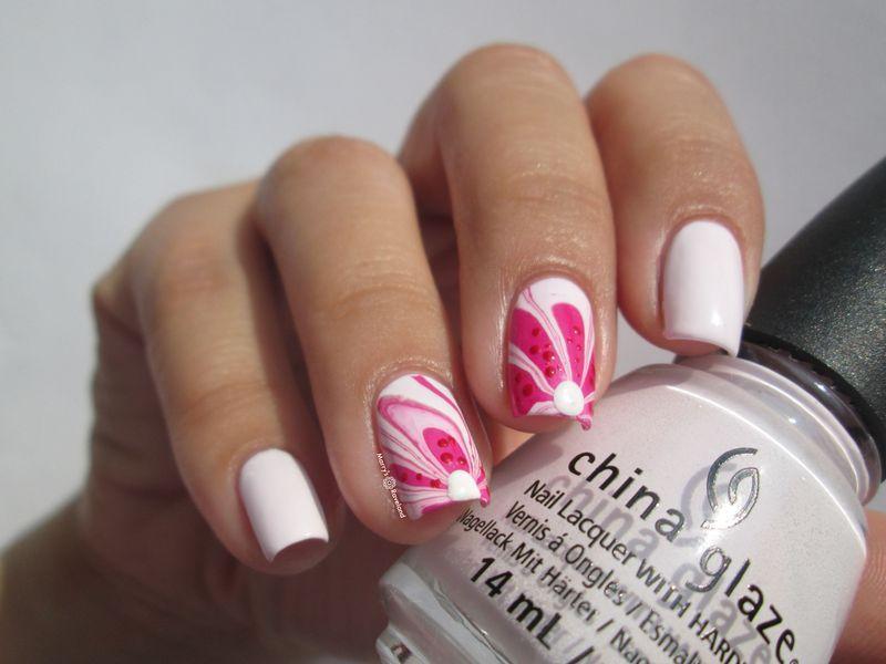 Spring water marble nail art by Marina