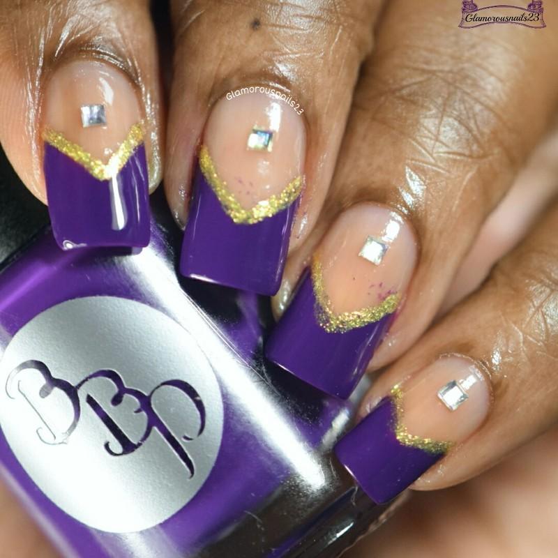 Purple & Gold Chevron  nail art by glamorousnails23