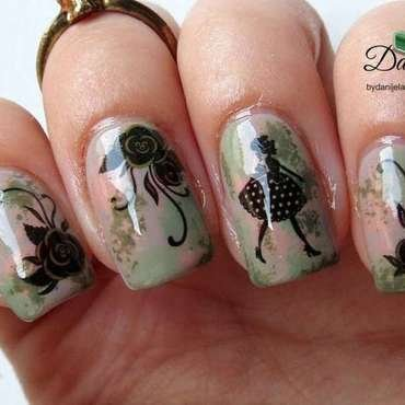 Girly vintage nails nail art by bydanijela