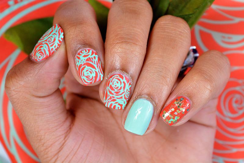 Coral Roses nail art by Fatimah