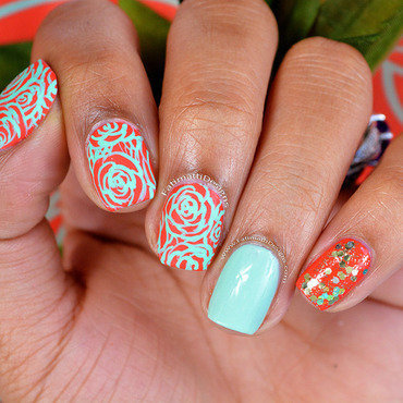 Coral Roses nail art by Fatimah