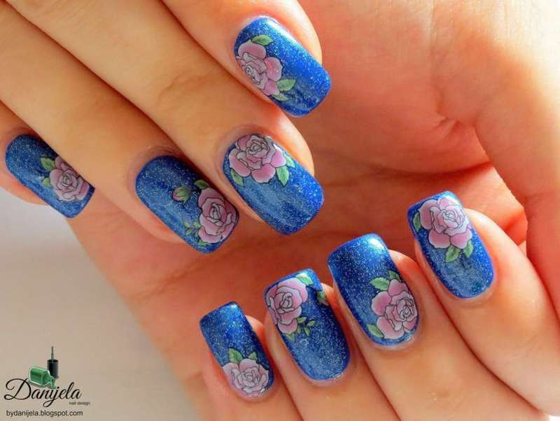 Simple blue nails with roses nail art by bydanijela