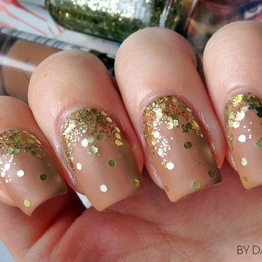 Matte nude glitter gradient nails nail art by bydanijela