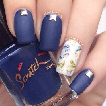 Matte blue & roses  nail art by Virginia