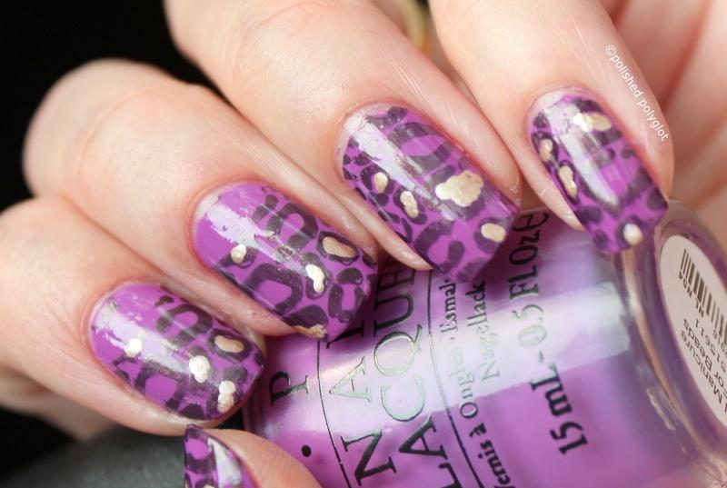 Violet leopard nail art by Polished Polyglot