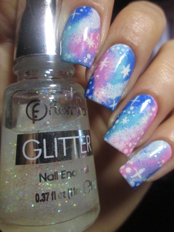 pink and blue galaxy nail art by NailArt_T
