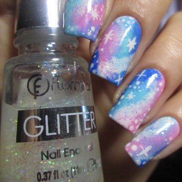 pink and blue galaxy nail art by NailArt_T