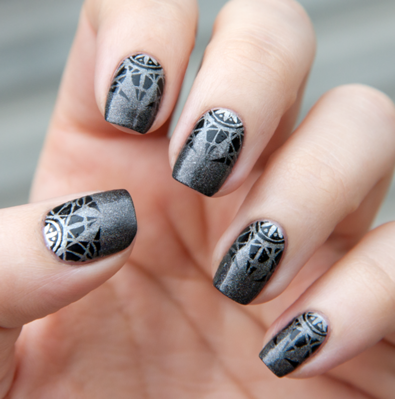 Metal Gradient and black stamping nail art by Chasing Shadows