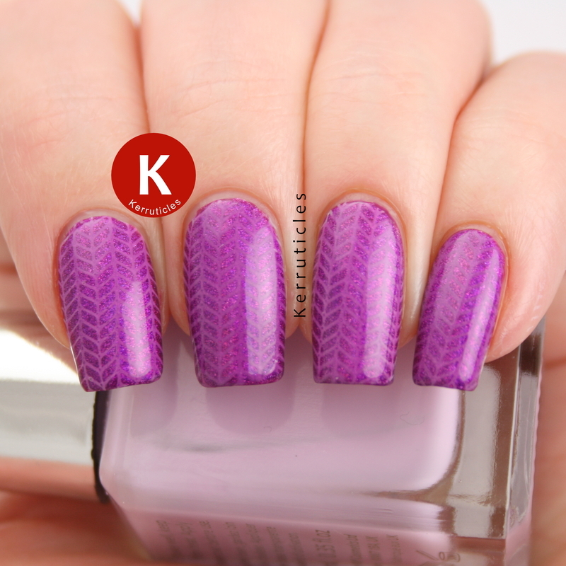 Purple holographic herringbone nail art by Claire Kerr