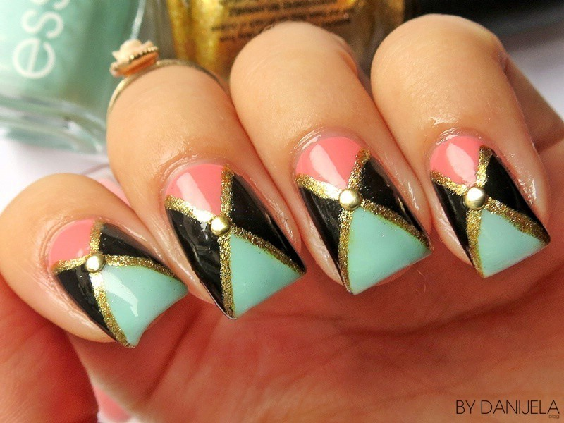Pastel triangle manicure (Inspiration: beautycrush) nail art by bydanijela