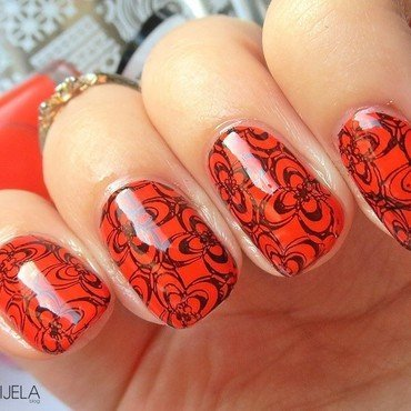 Orange doodle nails nail art by bydanijela